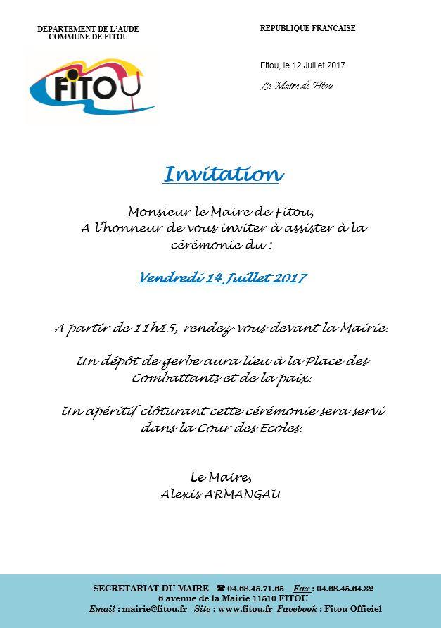 Invitation 14 Juillet 2017