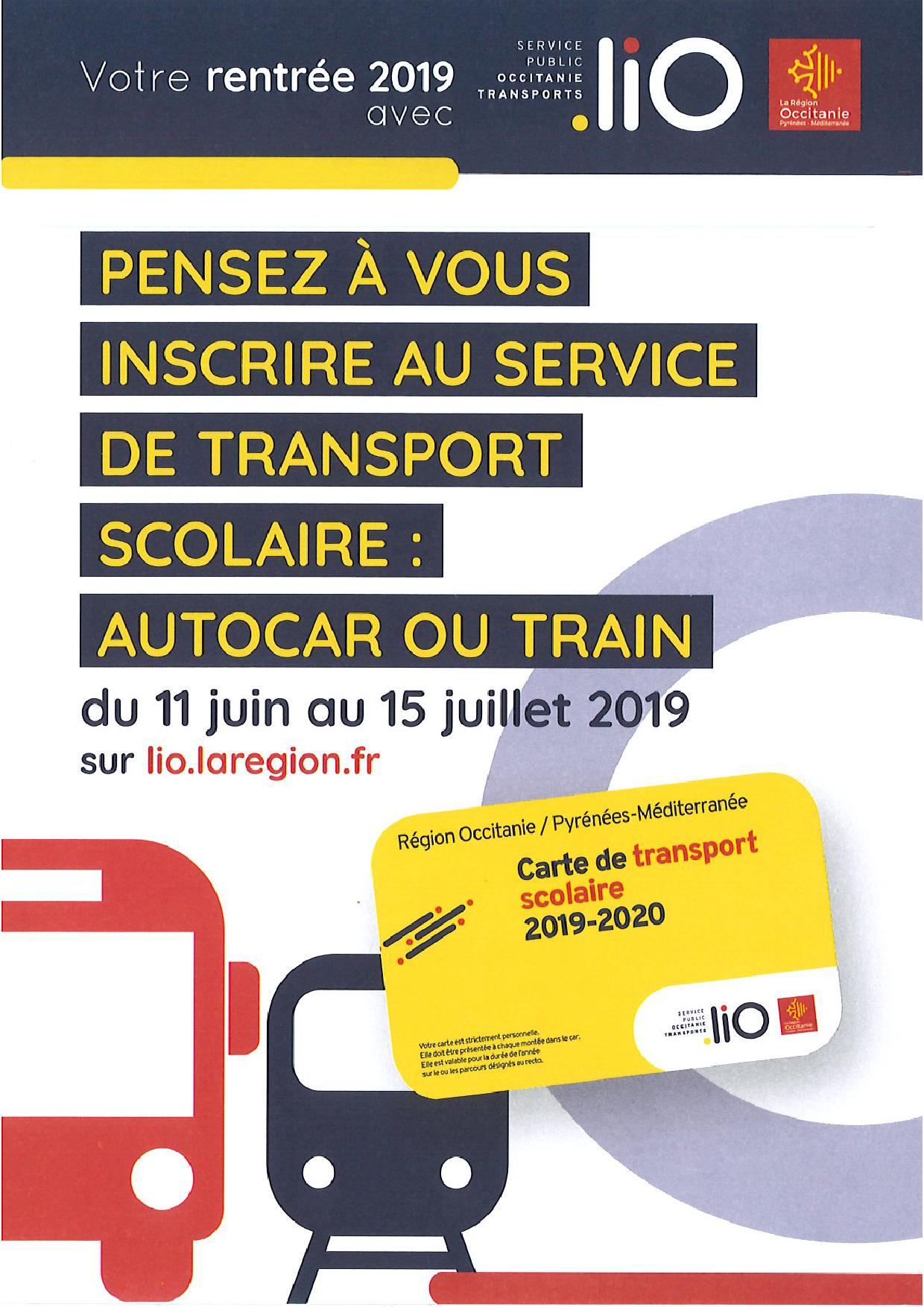 INSCRIPTION SERVICE TRANSPORTS